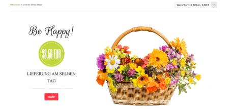 Blumenflowershop.de - Aufgeräumte Startseite mit Slider